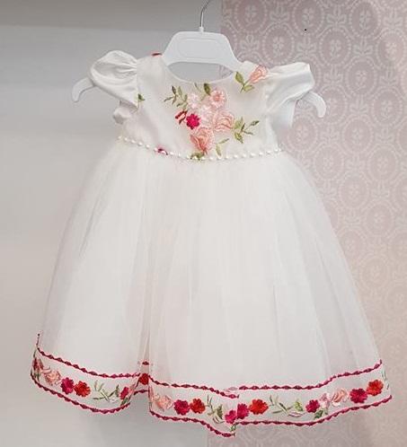 Rochita Alba Cu Flori Pentru Botez Innocence Little Rose