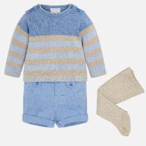 Set pulover, pantaloni scurti si dresuri pentru bebe baiat Mayoral