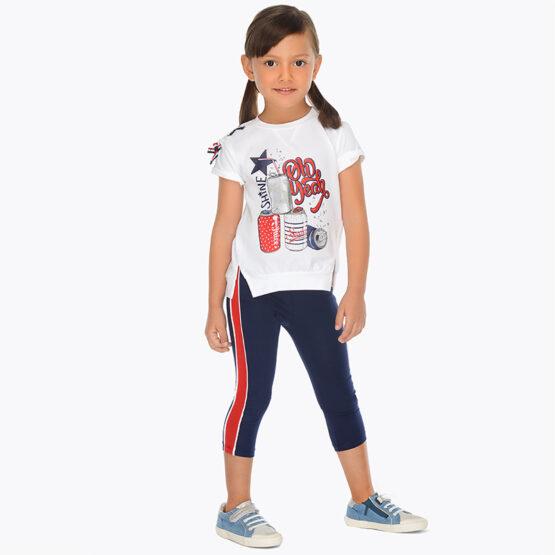 Set tricou si leggings cu benzi laterale fetita albastru Mayoral