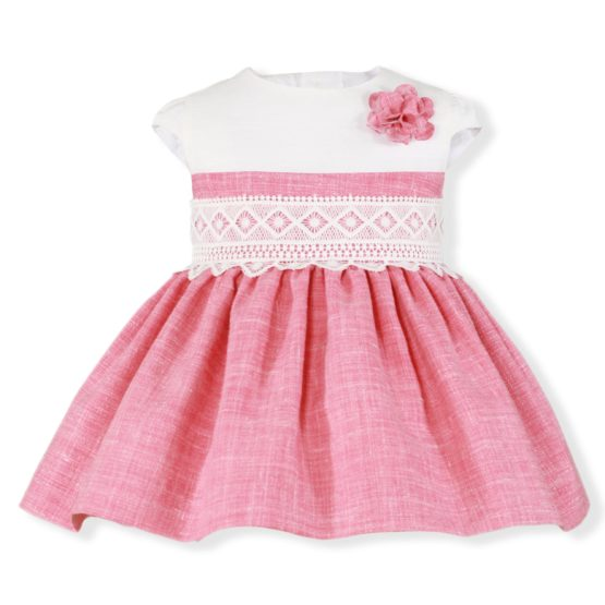 Rochita bebe alb cu roz Miranda