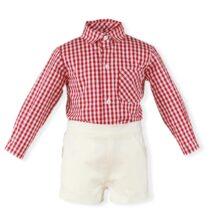 Costum camasa carouri si pantalon alb Miranda
