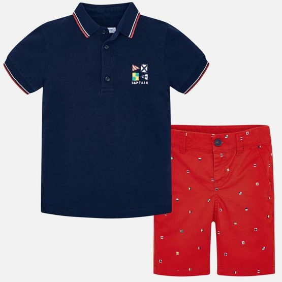Set polo si bermude in contrast baiat Mayoral