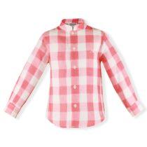 Camasa baiat in carouri alb cu rosu Miranda Textil