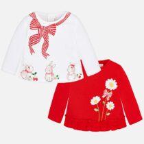 Set tricouri cu maneca lunga bebe rosu Mayoral