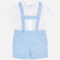 Set camasa si pantaloni scurti cu bretele bebe albastru Mayoral