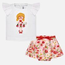 Set tricou si fusta pliuri flori fetita Mayoral