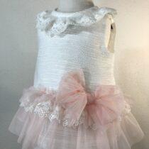 Rochita alba bebe cu tul roz Basmarti
