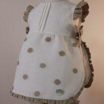 Costumas bebe alb cu buline crem Basmarti