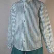 Set pantalon scurt verde cu cămașă în dungi Basmarti
