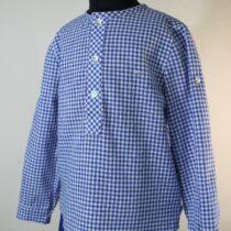 Set pantaloni scurți albastru închis cu cămașă în carouri Basmarti