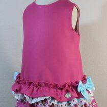 Rochiță roz fundiță albastră Basmarti