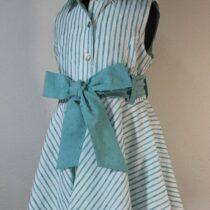 Rochie dungi verde-alb cu fundă Basmarti