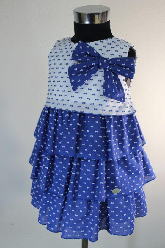 Rochie alb-albastru fundiță Basmarti