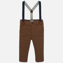 Pantaloni lungi chino bretele slim fit maro Mayoral
