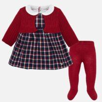 Rochie roșie carouri bolero și dresuri bebe Mayoral