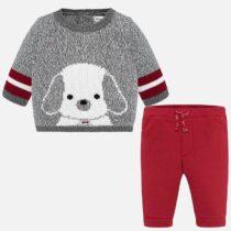 Set pantaloni lungi și pulover cățeluș roșu Mayoral
