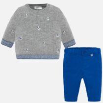 Set pantaloni lungi albaștri și pulover gri bebe Mayoral