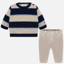 Set bej-bleumarin pantaloni/pulover băiat Mayoral