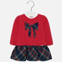 Rochie combinată roșie cu fundă fetiță Mayoral
