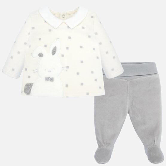 Set 2 piese patrate alb-gri iepuras bebe fetita