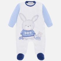 Salopeta alba cu imprimeu iepuras bebe baiat