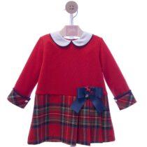 Rochie roșie cu pliuri în carouri Yoedu