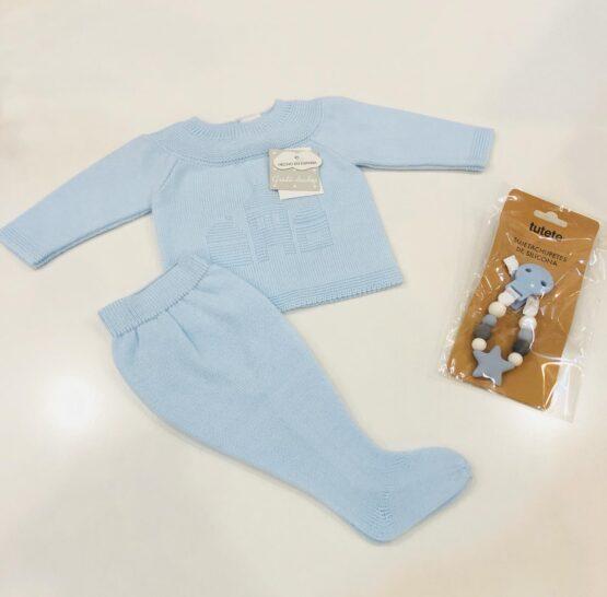 Compleu albastru din tricot model casa Guti-baby