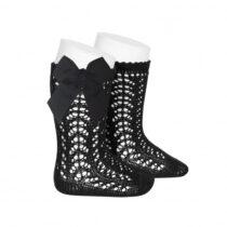 Șosete negre lungi din tricot cu fundă laterală Condor