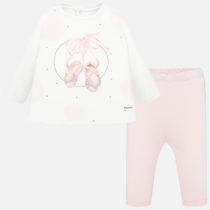 Set tricou cu imprimeu și leggings roz Mayoral
