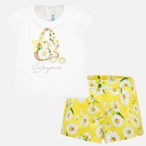 Set tricou cu bermude flori galbene Mayoral