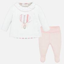 Set alb-roz pantaloni cu botoșei nou-născută Mayoral