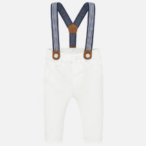 Pantaloni lungi albi cu bretele Mayoral