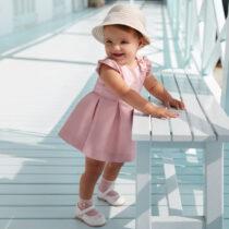 Rochie roz cu jacquard fundita fetita Mayoral