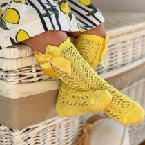 Șosete înalte galben din tricot Condor