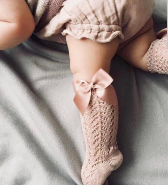 Șosete înalte din tricot cu fundă laterală, rosa empo, Condor