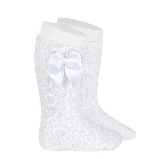Șosete albe din tricot cu fundă laterală Condor