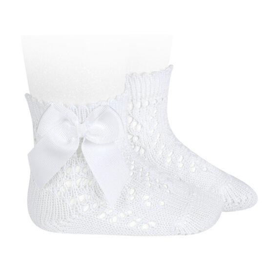 Șosete albe scurte din tricot cu fundă laterală Condor