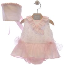 Costumaș fetiță roz cu volănașe – Lis