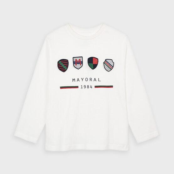 Bluză albă băiat cu imprimeu Mayoral