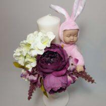 Lumânare florală botez