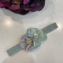 Bentiță eleganta verde mentă cu flori