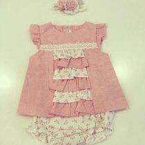 Compleu fetițe roz cu flori și bulinuțe, Miranda Textil