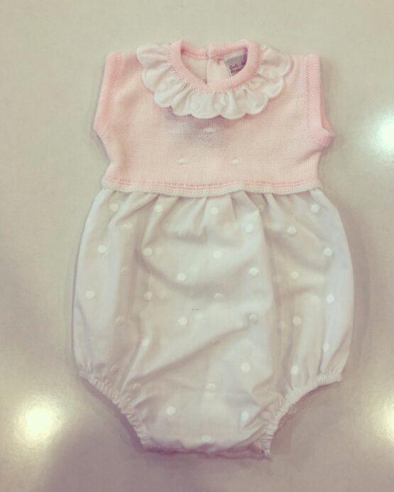 Salopetă roz cu bulinuțe albe, Guti-Baby