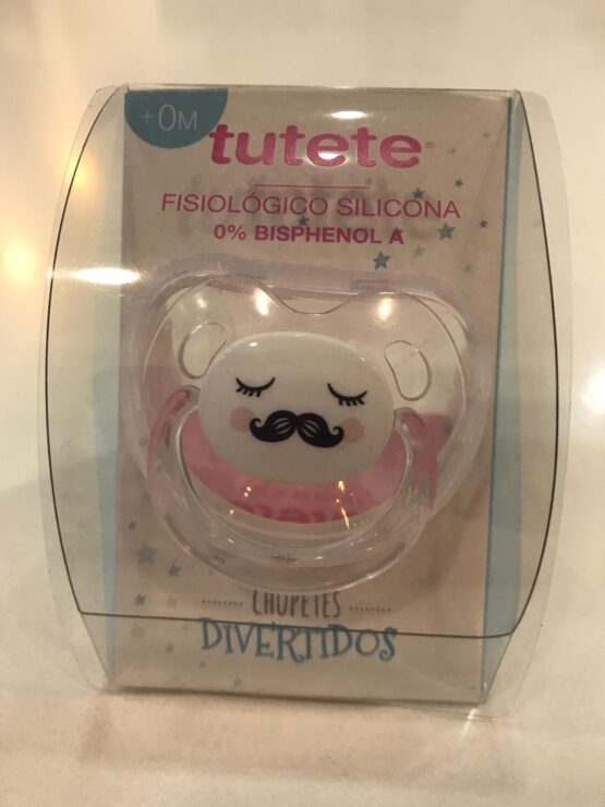 Suzetă transparentă cu mustață