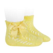 Șosete scurte galbene cu fundă laterală din tricot Condor