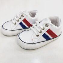 Teniși albi cu dungi rosu/albastru