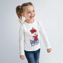 Bluză albă cu imprimeu cățeluș VIBES, Mayoral