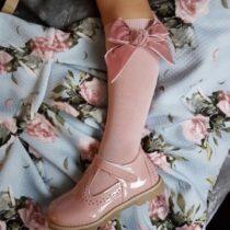 Șosete înalte roz pal cu fundă laterală din catifea Condor
