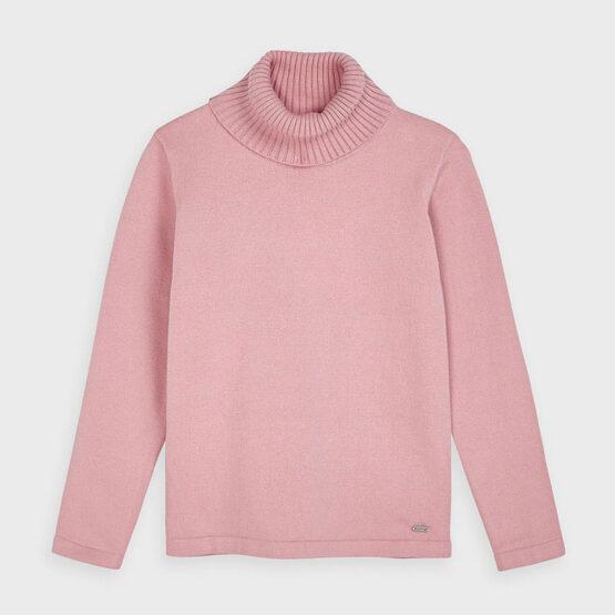 Pulover roz guler înalt tricot fetiță Mayoral