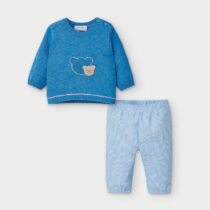 Set pantaloni lungi albastru cu ursuleț băiat Mayoral